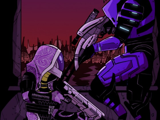 Tali_and_Garrus__Mass_Effect_2_by_JakeEkiss