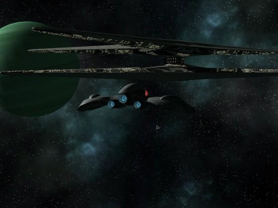 Cylon raider patrol near baseship