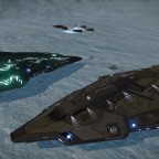 In my SRV at one local small settlement with docked NPC Python