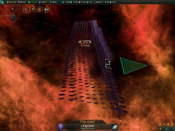 Stellaris invading fleet before engaging