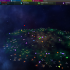 One normal sized non-spiral galaxy with a little spiral galaxy far away.