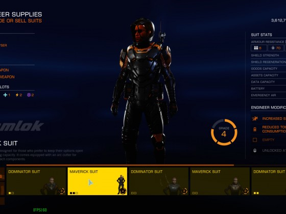 Suit upgrading screen