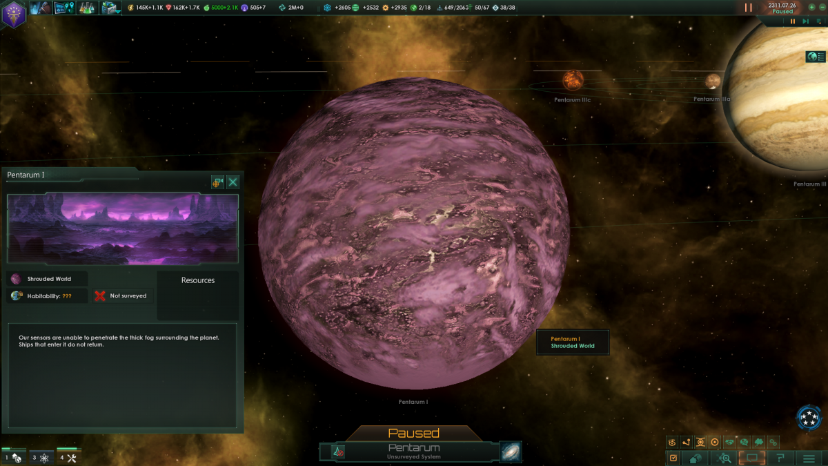 Stellaris: Shrouded worlds sometimes open up and show a