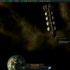 Stellaris: Mysterious Tanker above a Gaia world