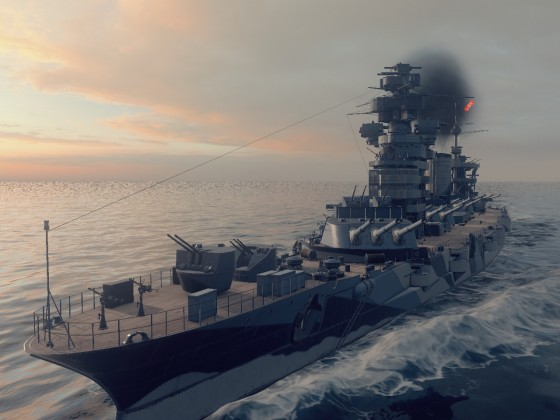 WoWS screenshot - battleship in motion