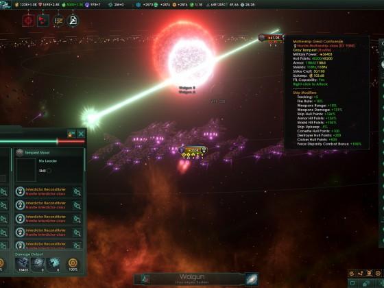 Stellaris L-Cluster's Nanite Mothership's one hit ko laser + Overlapping suns