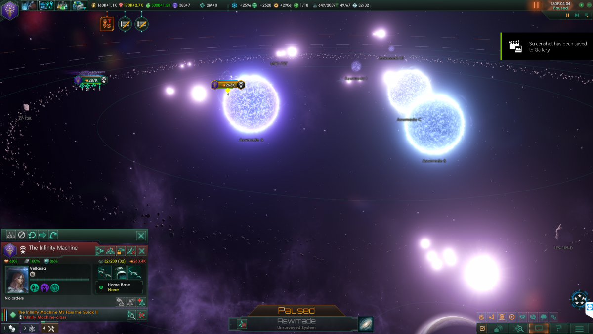 Stellaris: Nanite Homeworld fleets blowing up at same time once their base was gone.