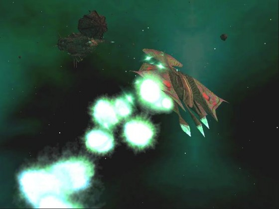Heavy fighter Manta under fire