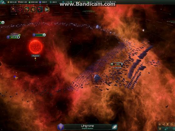 Stellaris invading fleet after engaging, under debuff effect