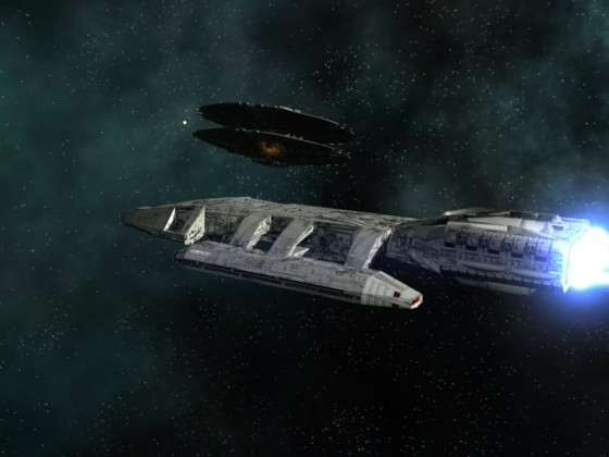 Galactica in fight with Cylon basestar MK I 04