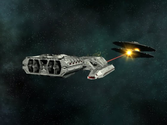 Galactica in fight with Cylon basestar MK I 02