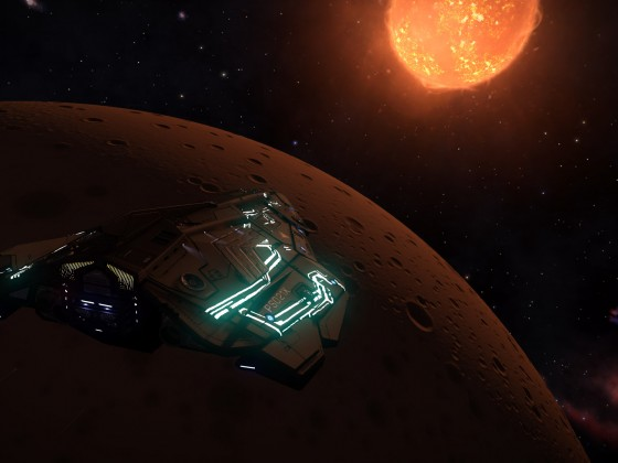 "In my python ""Blade"" high orbit fly above B1 planet in LTT 9104 system"