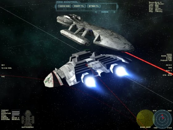 Cylon Raider Mk I attacking Galactica