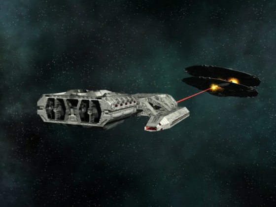 Galactica in fight with Cylon basestar MK I 03