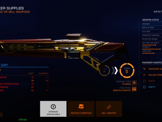 Weapons upgrading screen
