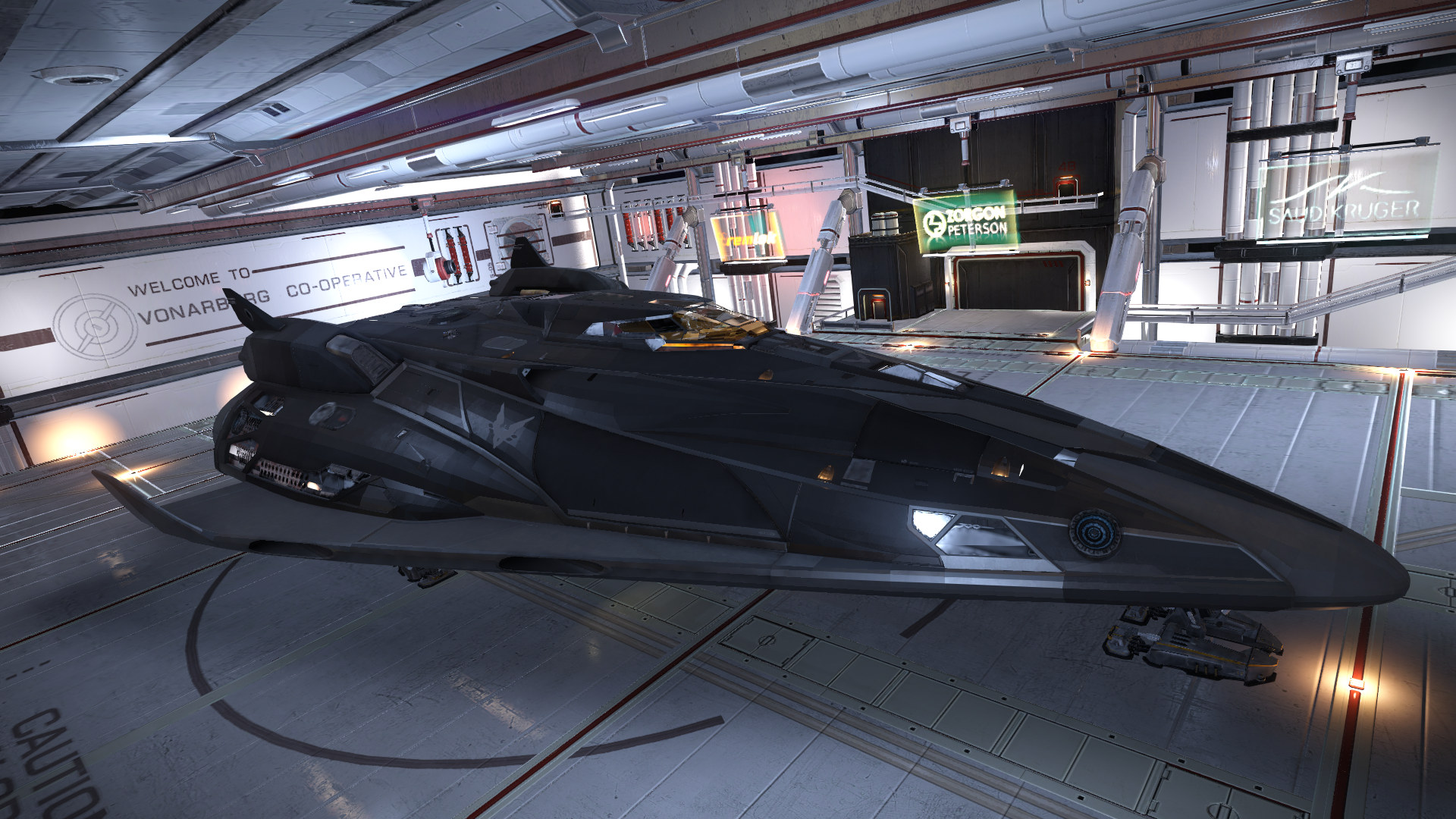 Fer-de-Lance docked in base hangar.